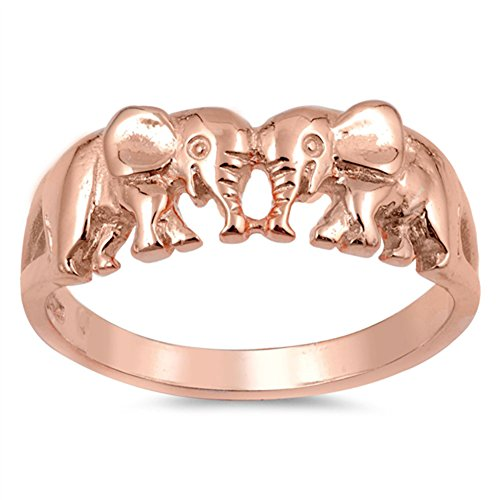Rose Gold-Tone Elephant Friendship Ring New .925 Sterling Silver Band Size 8 (RNG16950-8) (Best Friends Rings compare prices)