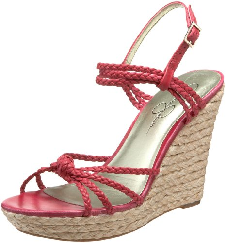 Jessica Simpson Women's Coronia Strappy Rafia Wedge,Florida Fuchsia Chloe Leather,8 M US