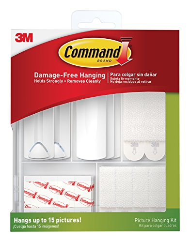Command Picture Hanging Kit, 3-Sawtooth Picture Hangers, 2-Wire-Backed Picture Hangers, 5-Large Strips, 4-Sets of Large Picture Hanging Strips, 8-Sets of Small Picture Hanging Strips, 16-Poster Strips (Small Picture Hangers compare prices)