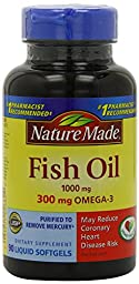 Nature Made Fish Oil,1000 mg, 300 mg OMEGA-3, 90-Count, Pack of 3