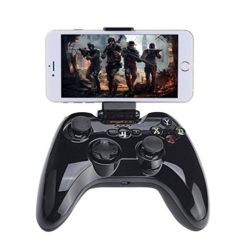 Megadream® Apple MFi Certified App Store IOS Games Gamepad Joystick Controller for iPhone 6S Plus 6 5S 5 4S, iPad Air 2 Mini 4 3 Pro, Apple TV - Clamp Holder Included / Maximum Clamp 6 inch Phone