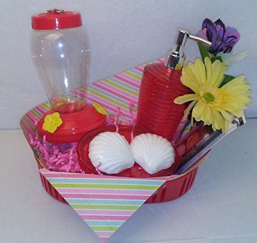 [Mother's Day Basket Flower Gift Set Bundle Red Hummingbird Feeder] (Steelers Halloween Costumes For Adults)