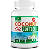 Coconut Oil Capsules Pure Extra Virgin Organic Pills FREE Coconut Recipe Book- Weight Loss Diet Pills Benefits - Best for Healthy Heart - Dry Skin - Hair Care - Detox - Natural Energy Source Product - MCT Oil Pill 1000 Mg - Made in USA(60 Softgels)