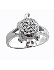Shree Ji Jewellers White Sterling Silver Tortoise Ring For Men/Women SJ972E