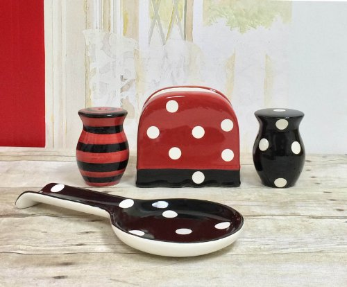 Black Red Polka Dot Collection Handcrafted Ceramic Table Top Set, 86525/28 By Ack back-319611