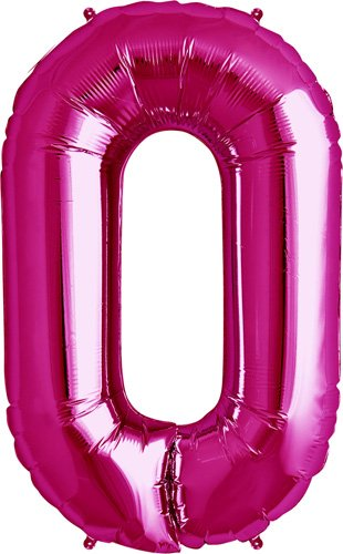 Number 0 - Magenta Helium Foil Balloon - 34 inch - 1