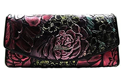 10. ArtsEye Peony Embossed Genuine Leather Trifold Wallet Clutch Purse