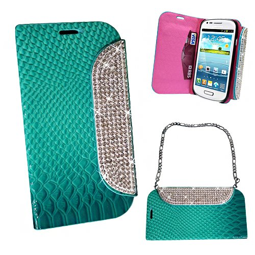 Xtra-Funky Exclusive Faux Leather Crocodile / Snake Print Flip Handbag Purse Wallet Style Case With Embedded Crystals On The Magnetic Closing Catch For Samsung Galaxy S4 (I9500 - I9505) - Turquoise