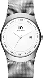 Danish Design Men's Quartz Watch with White Dial Analogue Display and Grey Stainless Steel Bracelet DZ120124