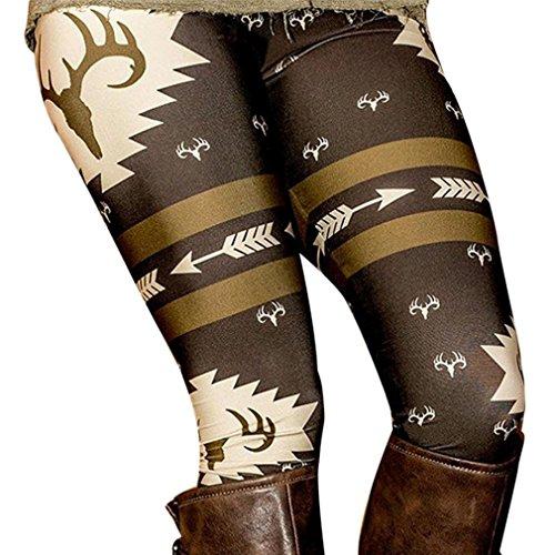 Leggings,Morecome Fashion Women Skinny Printed Stretchy Pants Leggings (M, Black)