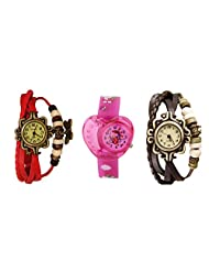 ANALOG KIDS WATCH WITH HELLO KITTY CARTOON PRINTED ON DIAL AND STRAP WITH 2 FREE WOMEN BRACELET WATCH-SET OF 3 - B01BGDJP6E