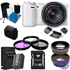 Sony Alpha NEX-5R Mirrorless Digital Camera with 18-55mm f/3.5-5.6 E-mount Zoom Lens (White) 32GB, Extra Battery, Quick Charger + More!