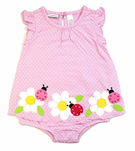 First Impressions Baby Girls Pink Flowers & Ladybugs Sunsuit Romper