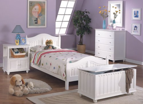 Cheap 5 pc white finish wood twin size kids bedroom set twin or full (F9030)