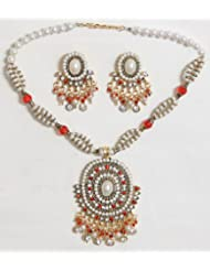 Dark Saffron And White Bead And Stone Studded Necklace With Earrings - Stone, Bead And Metal