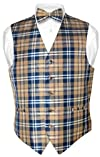 Mens Plaid Design Dress Vest NeckTie Navy Brown White Neck