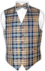 Men's Plaid Design Dress Vest BOWTie Navy Brown White BOW Tie Set
