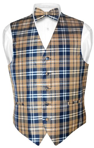 Men's Plaid Design Dress Vest & BOWTie Navy Brown White BOW Tie Set XLarge Brown Dress Bowties