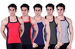 Zimfit Superb Gym Vests - Pack of 5 (RED_BLK_BLU_GRN_GRY_85)
