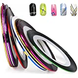 10 Color Rolls Nail Art Decoration Striping Tape