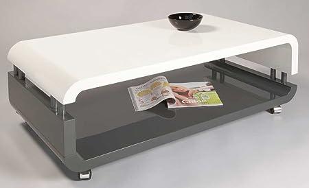 Table basse LOUISE Blanc/Gris haute brillance, 1100 x 600 x 400 mm -PEGANE-