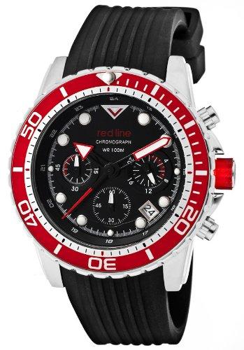 Red Line Watch 50034-01-RD-BZ Men's Piston Chronograph Black Dial Red Bezel