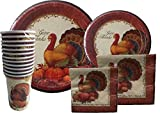 Thanksgiving Disposable Dinnerware Set for Your Holiday Party - Turkey Fall Harvest - Dinner Plates, Dessert Plates, Cups & Napkins (Serves 12)