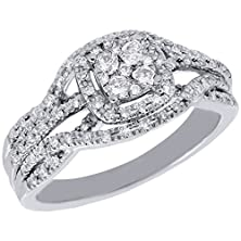 buy 10K White Gold Round Cut Diamond Square Halo Infinity Engagement Ring 0.33 Cttw