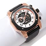 BULOVA Watches:Bulova Men-s Rosetone Marine Star Black Leather Strap Watch