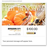 Amazon Gift Card - Email - Happy Thanksgiving (Pumpkins and Maize)