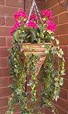 Pink geranium artificial hanging basket 14 inch