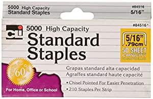 Charles Leonard High Capacity Standard Staples, 5/16 Inch Leg Length, 5000/Box (84516)