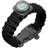 550 Bracelet boussole Tactique Survie Paracorde Parachute Tressage Boussole Sifflet