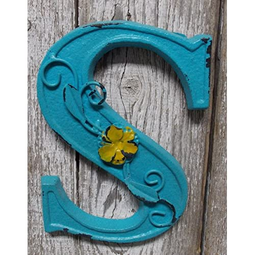 "Fun 6"" x 5"" x .5"" Cast Iron 3-D BLUE Wall LETTER "" S "" Wall Art Decor Alphabet Letter"