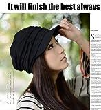 M's style スウェット キャスケット 帽子 オールシーズン ファッション コーディネート 美シルエット レディース (ブラック)