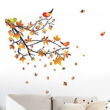 Buy Decals Design 'Autumn Leaves And Birds' Wall Sticker (Pvc