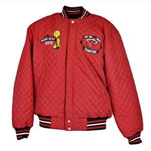 NBA JH Design Miami Heat Champions 2012 2006 Letterman Reversible Jacket Quilted by J.H. Design