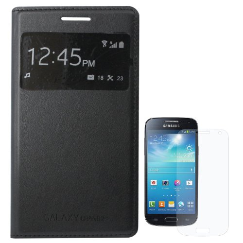 ESI Black Stitched Faux Leather Flip Cover S View Case for Samsung Galaxy Grand 2 G7102