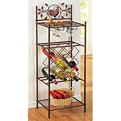 Country Rooster Wine Glass Rack and Bottle Holder