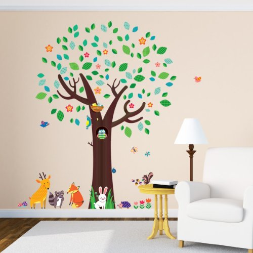 Decowall, DM-1312, Big Tree and Animal Friends Wall Stickers