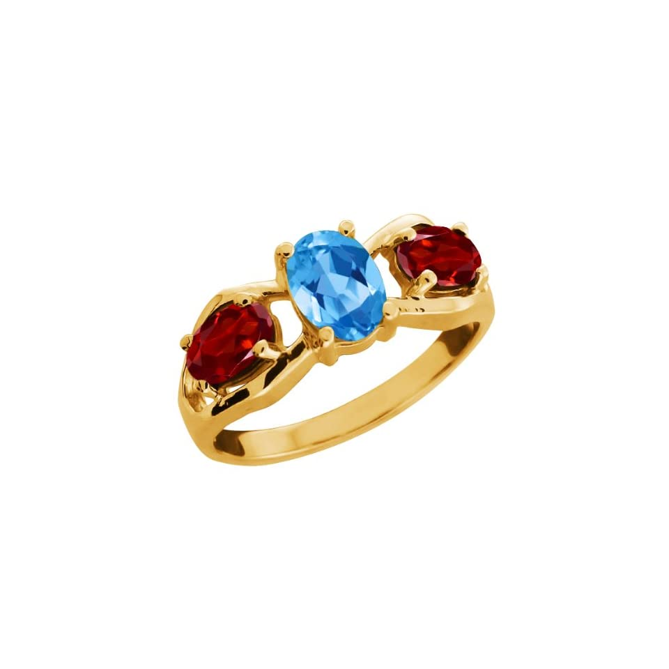 Ct Oval Swiss Blue Topaz and Red Garnet 18k Yellow Gold Ring Jewelry