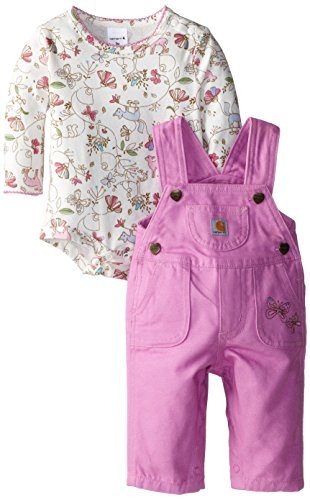 Carhartt Baby-Girls Newborn Canvas Bib Overall Set, Opera Mauve, 12 Months back-994143