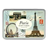 Paris Gift Tags, 36 Assorted Tags in Keepsake Metal Case