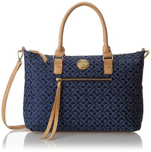 Tommy Hilfiger Tommy Club Convertible Shopper Jacquard Top Handle Bag,Navy/Lapis,One Size