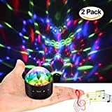 [2-Pack] Wireless Disco Ball Lights Battery Operated Sound Activated LED Party Strobe Light Mini Portable RGB DJ Stage Light with USB (Color: 2-Pack)