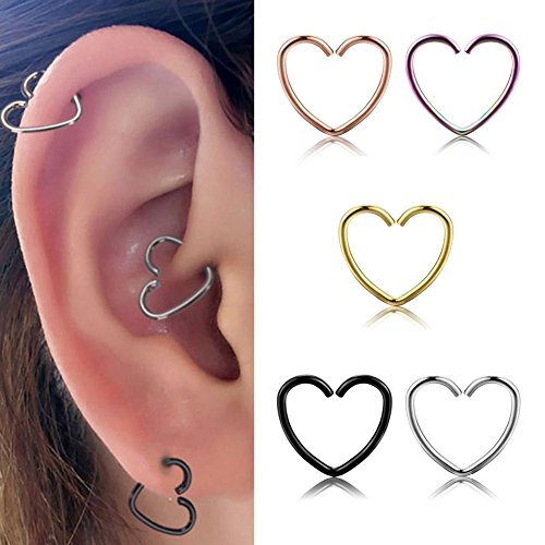 Miraculous Garden 10mm 5pcs Womens Multi-functional Heart Shaped Stainless Steel Cartilage Earring Hoop (5PCS Pack) (Hoop Labret Rings compare prices)