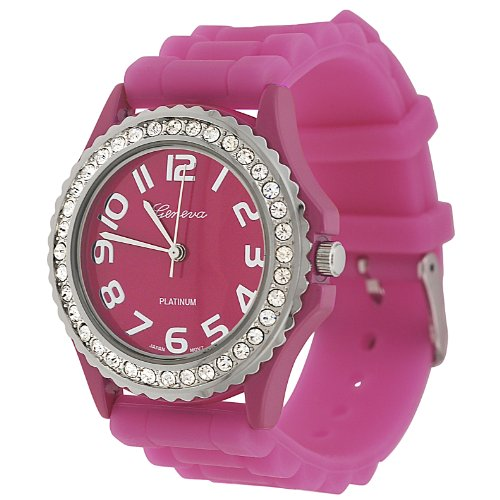 Geneva Platinum CZ Accented Silicon Link Watch