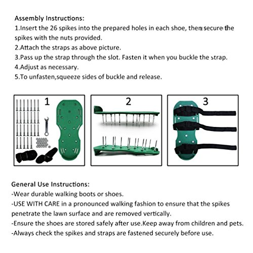 Geelife Lawn Aerator sandals and shoes with Plastic Buckles for Aerating Your Grass or Yard Good Lawn Aerator Spike