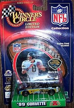 Jacksonville Jaguars 1999 Corvette NFL Diecast 1:64 Scale with Mark Brunell Display Stand by Winner's Circle WC Football Collectible - 1