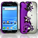 Purple/Silver Vines Design Snap On Protector Hard Case for (T-Mobile Version Only) Samsung Galaxy S II / S2